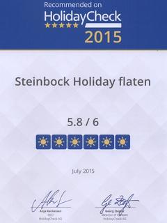 Steinbock-Ferienwohnungen: Holidaycheck Quality Selection 2013, 2014 und 2015.