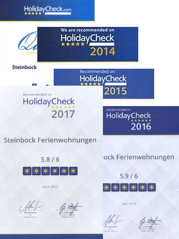 Holidaycheck Quality Selection 2013, 2014, 2015, 2016 und 2017.
