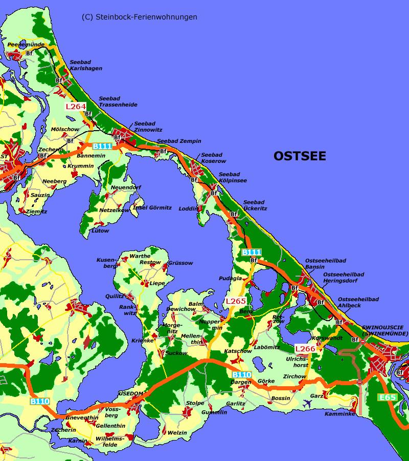Insel Usedom Karte.Usedom Landkarten Verkehr